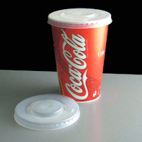 Plastic cup of Cola with lid